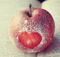 romance, apple, heart, symbol, the book