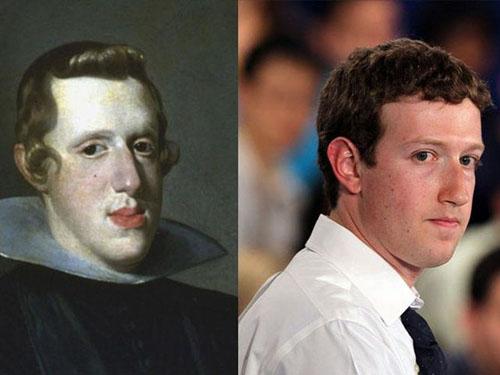 17世紀のスペインのフェリペ4世(左)と、フェイスブックの創始者マーク・ザッカーバーグ(右)