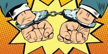 Arrest, hands cuffed