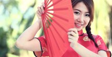 Chinese girl with dress traditional Cheongsam