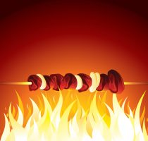 Grill Shish Kebab Prepared on Hot Flame. Vector
