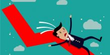 businessman falling from the red chart arrow.