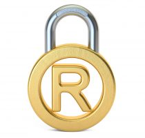 Registered Trademark concept with padlock, 3D rendering