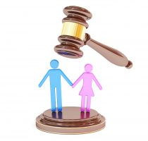 divorce concept with gavel and marrieds, 3D rendering