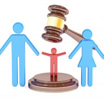 divorce and custody child concept with gavel and family, 3D rend