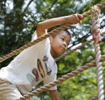 綱渡りで遊ぶ小学生(2年生)