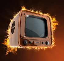 Retro tv with wooden case in fire