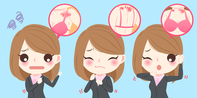 cute cartoon business woman with body pain